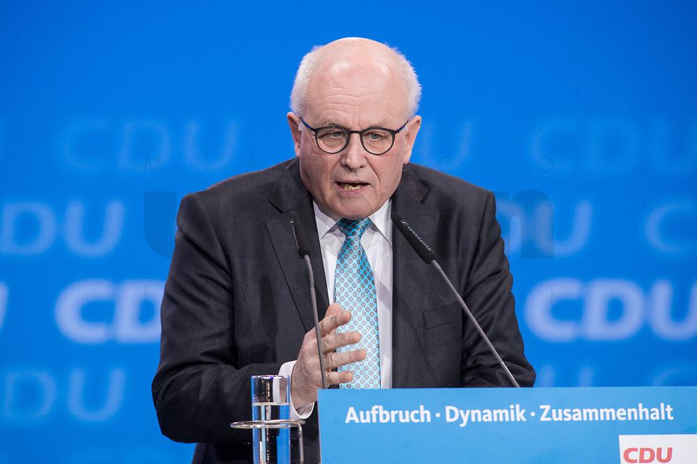 26 FEB 2018, BERLIN/GERMANY:<br /> Volker Kauder, CDU, CDU/CSU Fraktionsvorsitzender, CDU Bundesparteitag, Station Berlin<br /> IMAGE: 20180226-01-132<br /> KEYWORDS: Party Congress, Parteitag