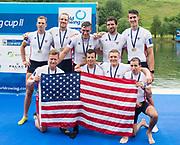 Lucerne, SWITZERLAND,  2016 FISA WCII, Men's Eights Final USA M8+ Bow DOMMER Samuel, STRUZYNA Hans, KARWOSKI Alexander, OCHAL Glenn, KASPRZYK Stephen, DI SANTO Michael, MUNN Robert, HACK Austin,Cox OJSERKIS Samuel, , Sunday, 29/05/2016, <br /> [Mandatory Credit; Peter SPURRIER/Intersport-images]