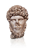 Roman statue of Emperor Lucius Verus .Marble. Perge. 2nd century AD. Inv no 2010/539 . Antalya Archaeology Museum; Turkey. Against a white background. .<br /> <br /> If you prefer to buy from our ALAMY STOCK LIBRARY page at https://www.alamy.com/portfolio/paul-williams-funkystock/greco-roman-sculptures.html . Type -    Antalya     - into LOWER SEARCH WITHIN GALLERY box - Refine search by adding a subject, place, background colour, museum etc.<br /> <br /> Visit our ROMAN WORLD PHOTO COLLECTIONS for more photos to download or buy as wall art prints https://funkystock.photoshelter.com/gallery-collection/The-Romans-Art-Artefacts-Antiquities-Historic-Sites-Pictures-Images/C0000r2uLJJo9_s0