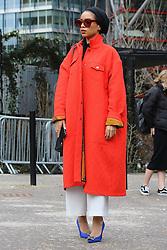 Saufeeya Goodson arrives at the Topshop Unique Autumn / Winter 2017 London Fashion Week show at Tate Modern, London