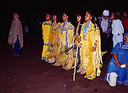 Carla Goseyun dancing with other young women, Evening at Carla Goseyun's White Mountain Apache Traditional Sunrise Ceremony, Whiteriver, Arizona.  Please Note: A small extra licensing fee needs to be paid to the Goseyun Family for usage of this photo. Contact Fred Hirschmann for more information. Thanks.