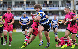 Nick Auterac of Bath Rugby takes on the London Welsh defence - Photo mandatory by-line: Patrick Khachfe/JMP - Mobile: 07966 386802 01/11/2014 - SPORT - RUGBY UNION - Bath - The Recreation Ground - Bath Rugby v London Welsh - LV= Cup