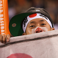 18 March 2009: A fan cheers for Japan during the 2009 World Baseball Classic Pool 1 game 5 at Petco Park in San Diego, California, USA. Japan wins 5-0 over Cuba.