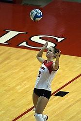 19 AUG 2006  Kelly Waterstraat sets up her serve. Northern Illinois Huskies got slammed by Illinois State Redbirds, losing the match 3 games to 1. Game action took place at Redbird Arena on the campus of Illinois State University in Normal Illinois.