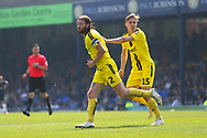 Burton Albion defender John Brayford (2) scores a goal and celebrates with Burton Albion midfielder Alex Bradley (15) 1-2 during the EFL Sky Bet League 1 match between Southend United and Burton Albion at Roots Hall, Southend, England on 22 April 2019.