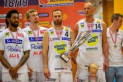 05.06.2019, Volksbank Arena, Gmunden, AUT, ABL, Swans Gmunden vs Kapfenberg Bulls, Finale, 3. Spiel, im Bild v.l.: Chance Murry (Swans Gmunden), Matthias Linortner (Swans Gmunden), Enis Murati (Swans Gmunden), Tilo Klette (Swans Gmunden) // during the Admiral Basketball Bundesliga 3rd final match between Swans Gmunden and Kapfenberg Bulls at the Volksbank Arena in Gmunden, Austria on 2019/06/05. EXPA Pictures © 2019, PhotoCredit: EXPA/ Dominik Angerer