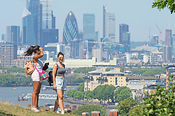 ©Licensed to London News Pictures 31/07/2020     Greenwich, UK. People out and about in Greenwich park, Greenwich, London enjoying the sunny weather and the view. Today is set to be the hottest day of the year so far with temperatures to hit 35C in parts of the UK. Photo credit: Grant Falvey/LNP