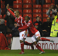 Photo: Steve Bond/Richard Lane Photography. Nottingham Forest v Doncaster Rovers. Coca Cola Championship. 28/11/2009. Lewis McGugan (L) celebrates