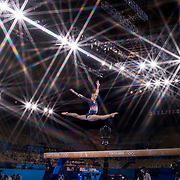 TOKYO, JAPAN - JULY 29: Jessica Gadirova of Great Britain performs her routine on the balance beam during the All-Around Final for Women at Ariake Gymnastics Centre during the Tokyo 2020 Summer Olympic Games on July 29, 2021 in Tokyo, Japan. (Photo by Tim Clayton/Corbis via Getty Images)<br /> <br /> <br /> (Note to editors: A special effects starburst filter was used in the creation of this image)