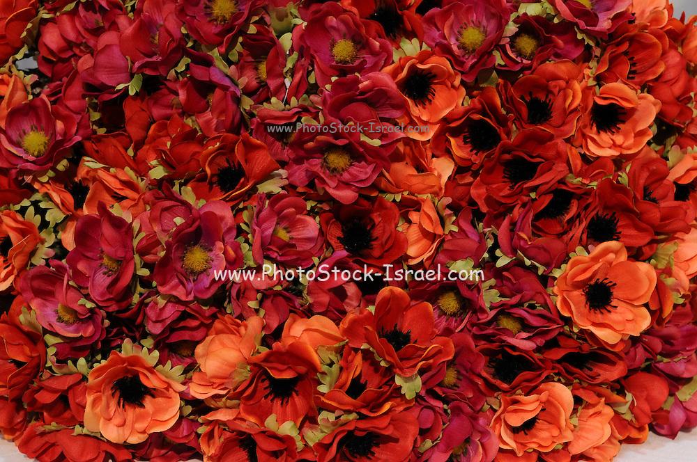 Close up red Silk flower bouquet