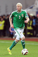 ROMANIA, Bucharest : Northern Ireland's Ryan McGivern during the Euro 2016 Group F qualifying football match Romania vs Northern Ireland in Bucharest, Romania on November 14, 2014.