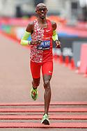 Sir Mo Farah arrpoaches the finish line in the Virgin Money 2019 London Marathon, London, United Kingdom on 28 April 2019.