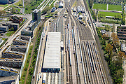 Nederland, Noord-Holland, Amsterdam, 09-04-2014; Emplacement  Watergraafsmeer met rangeertterrein, locomotieven- en/of  rijtuigen-loods. Kruislaan.<br /> Railway yard in East of Amsterdam.<br /> luchtfoto (toeslag op standard tarieven);<br /> aerial photo (additional fee required);<br /> copyright foto/photo Siebe Swart