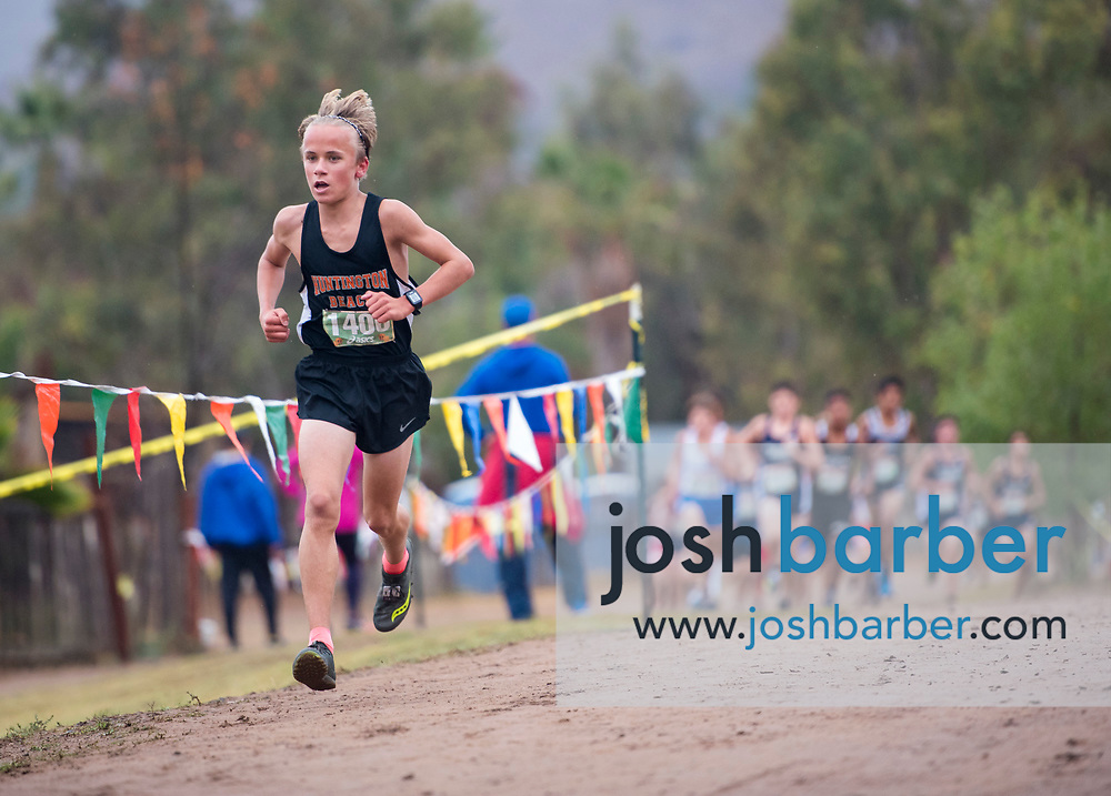 Huntington Beach's Nolan Walt leads during the Boys Freshman Larger Schools race of the Orange County Cross Country Championships  at Oak Canyon Park on Saturday, October 13, 2018 in the unincorporated community of Silverado, Calif. (Photo by Josh Barber, Contributing Photographer)