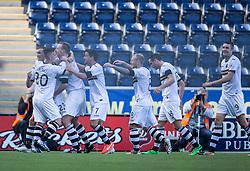 Dumbarton's Chris Kane cele scoring their goal.<br /> Falkirk 1v 1 Dumbarton, Scottish Championship game played 20/9/2014 at The Falkirk Stadium .