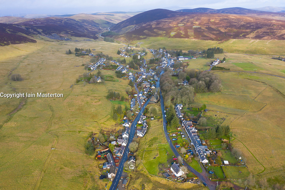 Aerial view of village of Leadhills in Dumfries and Galloway, Scotland, UK