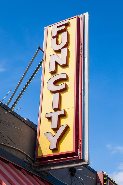 """""""Funcity"""" sign on the boardwalk in Ocean City, Maryland, USA."""