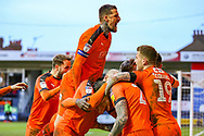 Goal 2-0 Luton Town midfielder George Moncur celebrates scoring a goal with his team mates during the EFL Sky Bet League 1 match between Luton Town and Wycombe Wanderers at Kenilworth Road, Luton, England on 9 February 2019.