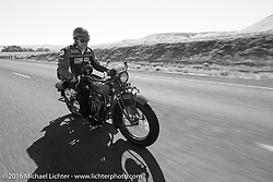 Jim Petty riding his 1927 Indian Chief during Stage 15 (244 miles) of the Motorcycle Cannonball Cross-Country Endurance Run, which on this day ran from Lewiston, Idaho to Yakima, WA, USA. Saturday, September 20, 2014.  Photography ©2014 Michael Lichter.