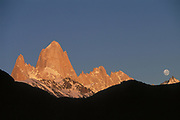 Fitzroy Massif at Full Moon<br />Patagonia, ARGENTINA   South America