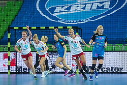 Hammerseng G.and Solberg Sana of Larvik during handball match between RK Krim Mercator (SLO) and Larvik (NOR) in 3rd Round of Women's EHF Champions League 2015/16, on October 30, 2015 in Arena Stozice, Ljubljana, Slovenia. Photo by Grega Valancic / Sportida