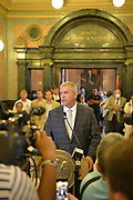 6/28/2020 Jackson MS. <br /> Speaker of the House speaks to the media after the historic vote to remove the Confederate Flag. He spoke of what a historic time this is for Mississippi and how he hope this is just the beginning of change to come to Mississippi. HB 1796 cleared the House and Senate clearing the way to remove the Confederate flag as the state flag for the State of Mississippi.   The Mississippi State legislators gathered at the State Capitol Sunday for a historic vote on HB1796. The MS House of Representatives  passed the Bill 91-23 and the MS Senate voted 31-14 in favor of changing the flag. The Bill would allow for the redesign of the Mississippi State Flag, the current flag has the Confederate symbol on it. Mississippi is the last State in the Nation to still have the racist Confederate symbol on its state flag. Black Lives Matter advocates celebrated the historic vote outside the Capitol. The Mississippi House of Representatives passed the Bill and so did the Mississippi Senate, Governor Tate Reeves said he would sign it if it passed. Photo © Suzi Altman