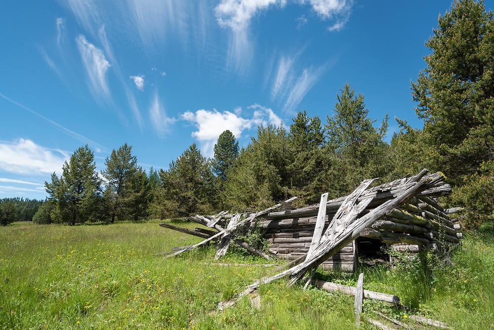 Ruins of an old log cabin, Wallowa County, Oregon.