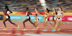 Competitors in the Women's 3000m Steeplechase Final at the Carrara Stadium during day seven of the 2018 Commonwealth Games in the Gold Coast, Australia.