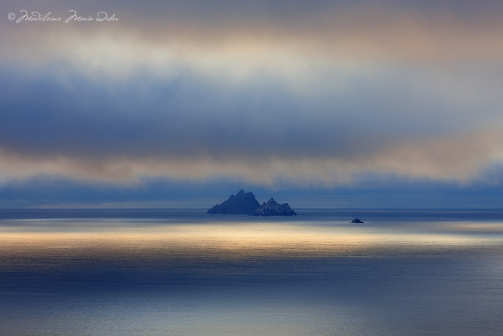 Mystical Sunset Light over Skellig Michael and Little Skellig Island, County Kerry, ireland / sk034 I love the Skelligs, ****** <br /> <br /> Visit & browse through my Photography & Art Gallery, located on the Wild Atlantic Way & Skellig Ring between Waterville and Ballinskelligs (Skellig Coast R567), only 3 minutes from the main Ring of Kerry road.<br /> https://goo.gl/maps/syg6bd3KQtw<br /> <br /> ******<br /> <br /> Contact: 085 7803273 from an Irish mobile phone or +353 85 7803273 from an international mobile phone