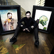 Marilyn Manson photographed at home with his artwork