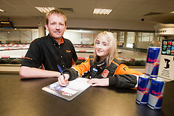 Red Bull Kart Fight promo at Xtreme Karting, Newbridge. Christie Doran's Ginetta Racing challenge. Pic with Scott Henderson..©Pic : Michael Schofield.