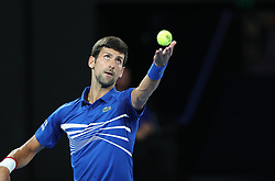 MELBOURNE, Jan. 17, 2019  Novak Djokovic of Serbia serves the ball during the men's singles second round match against Jo-Wilfried Tsonga of France at the Australian Open in Melbourne, Australia, Jan. 17, 2019. (Credit Image: © Bai Xuefei/Xinhua via ZUMA Wire)