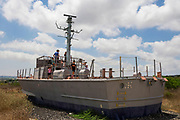 Children explore and play on an Out of Service Israeli Navy patrol boat Dabur class