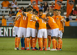 August 4, 2018 - Houston, TX, U.S. - HOUSTON, TX - AUGUST 04:  Houston Dynamo starting players join in a huddle during the soccer match between Sporting Kansas City and Houston Dynamo on August 4, 2018 at BBVA Compass Stadium in Houston, Texas.  (Photo by Leslie Plaza Johnson/Icon Sportswire) (Credit Image: © Leslie Plaza Johnson/Icon SMI via ZUMA Press)