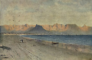 At the Head of False Bay Cape Town, South Africa From the book ' The Cape peninsula: pen and colour sketches ' described by Réné Juta and painted by William Westhofen. Published by A. & C. Black, London  J.C. Juta, Cape Town in 1910