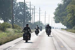 Doug Feinsod riding his Indian out of Bourbonnais on the Motorcycle Cannonball coast to coast vintage run. Stage 6 (260 miles) from Bourbonnais, IL to Cedar Rapids, IA. Thursday September 13, 2018. Photography ©2018 Michael Lichter.