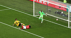Belgium's Thomas Meunier (centre) scores his side's first goal of the game during the FIFA World Cup third place play-off match at Saint Petersburg Stadium.