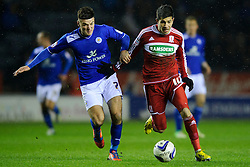 Leicester Midfielder Ben Marshall (ENG) challenges Middlesbrough Forward Emmanuel Ledesma (ARG) during the second half of the match - Photo mandatory by-line: Rogan Thomson/JMP - Tel: Mobile: 07966 386802 18/01/2013 - SPORT - FOOTBALL - King Power Stadium - Leicester. Leicester City v Middlesbrough - npower Championship.