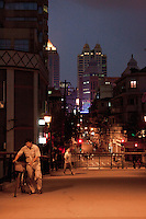 night falls on the streets in Shanghai China