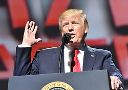 April 28, 2017 - Atlanta, Georgia, U.S. - President DONALD J. TRUMP  speaks during the NRA-ILA Leadership Forum at Georgia World Congress Center Friday. (Credit Image: © Hyosub Shin/TNS via ZUMA Wire)