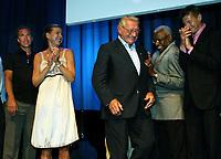 Friidrett / Athletics<br /> ExxonMobil Bislett Games 2005<br /> 29.07.2005<br /> Foto: Morten Olsen, Digitalsport<br /> <br /> Pre-competition dinner<br /> <br /> Famous Bislett Stars of the past. (L-R): Steinar Hoen, Hanne Haugland, Hjalmar Andersen (skating), Lamine Diack (IAAF president) and Steve Cram