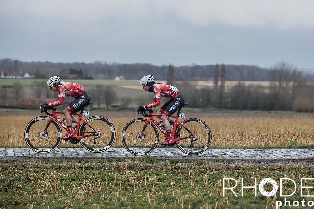 Team mates Bryony Van Velzen (NED/Doltcini-Van Eyck Sport) and Mieke Docx (BEL/Doltcini-Van Eyck Sport) riding the cobbles<br /> <br /> 2nd Nokere Koerse WE (BEL) 2021<br /> UCI Women Elite 1.PRO<br /> One Day Race: Deinze > Nokere 124km