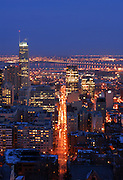 picture of Montreal skyline in winter at the blue hour as viewed from the Mont-Royal belvedere