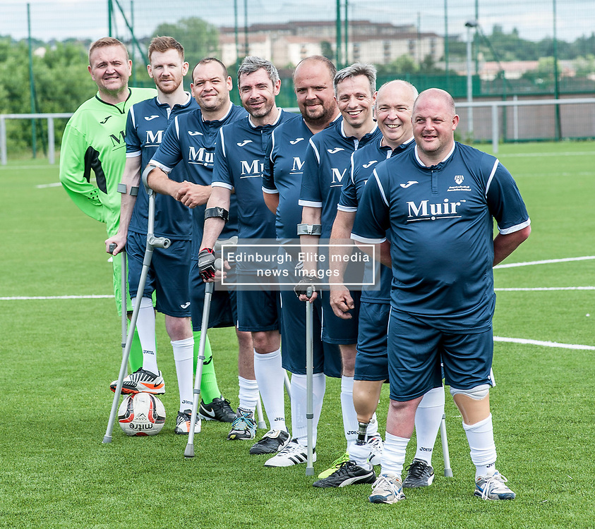 The Scotland squad of the Amputee Football Association Scotland get some last minute training in before travelling to the Netherlands for their first tri-nations championship with the host country and Germany. The squad is Stuart Mitchell, Mick Lennon, Gerry Mulheron, Brian Murray, Stephen Gregoson, Stuart Thom, Andy Bell and Iain Matthew.<br /> <br /> © Dave Johnston/ EEm