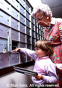 Active Aging Senior Citizens, Retired, Activities, Elderly Woman with Grandchild, Grandchild helps Grandmother with Mail, Retirement Community