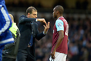 West Ham United manager Slaven Bilic giving instructions to Angelo Ogbonna Obinze of West Ham United. Barclays Premier League, West Ham Utd v Chelsea at The Boleyn Ground, Upton Park in London on Saturday 24th October 2015.<br /> pic by John Patrick Fletcher, Andrew Orchard sports photography.