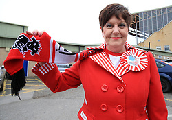 Lincoln City fan Andrea Marshall before departing for London from Sincil Bank, Lincoln.