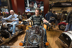The Indian Motorcycles booth during EICMA, the largest international motorcycle exhibition in the world. Milan, Italy. November 20, 2015.  Photography ©2015 Michael Lichter.