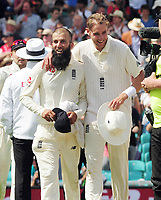 Cricket - 2017 South Africa Tour of England - Third Test, Day Five<br /> <br /> Moeen Ali is congratulated by Stuart Broad after getting a hat trick of wickets (the first since 1938 for a spin bowler) during the afternoon session, at The Oval.<br /> The third wicket was of Morne Morkel<br /> <br /> COLORSPORT/ANDREW COWIE