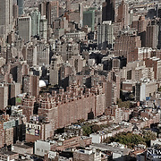 Looking at Midtown Manhattan from the elevated viewpoint of  a helicopter